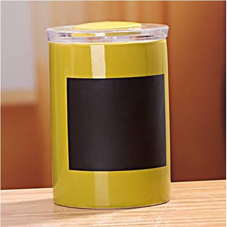 普润 厨房用品 陶瓷密封罐三件套 土黄色