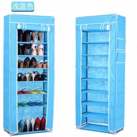 普润 十层加固钢架整理收纳男女鞋柜十层鞋架 天蓝色