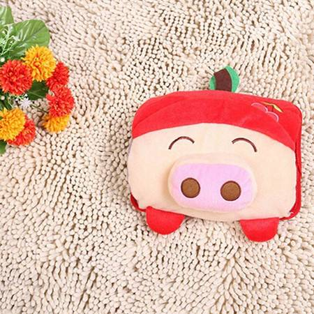 博弘 可爱红色水果猪电暖袋 卡通防爆电热水袋 未注水麦兜暖手宝