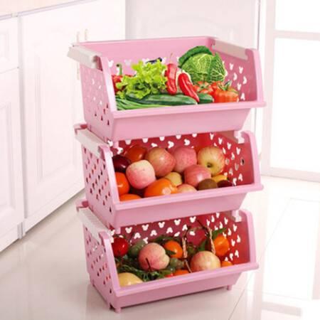 普润 镂空爱心加厚塑料厨房置物架三只装 果蔬筐篮水果蔬菜收纳储物箱粉色