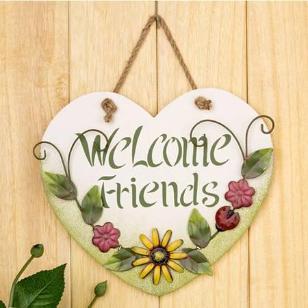 普润 创意家居饰品 田园手绘风格 壁挂吊牌 心形挂牌 welcome friends装饰挂牌
