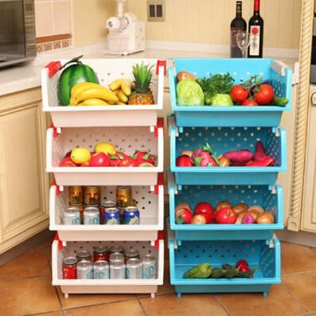 普润 镂空爱心加厚塑料厨房置物架三只装 果蔬筐篮水果蔬菜收纳储物箱蓝色