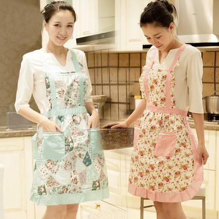 厨房半身无袖印花围裙 花色随机