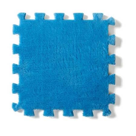 法兰绒家居拼接毛绒地垫--蓝色(单块装)