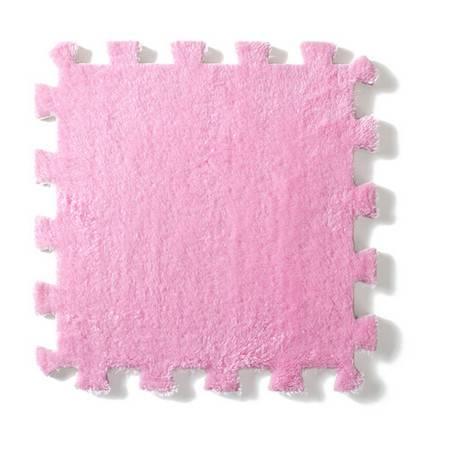 法兰绒家居拼接毛绒地垫--粉色(单块装)