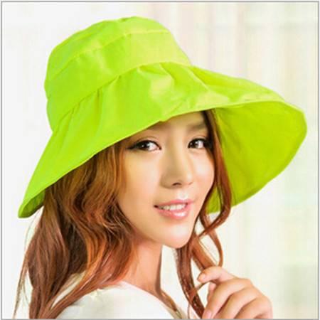 可折叠遮阳帽防晒帽子防紫外线帽大檐帽海边沙滩太阳帽空顶帽亮绿色
