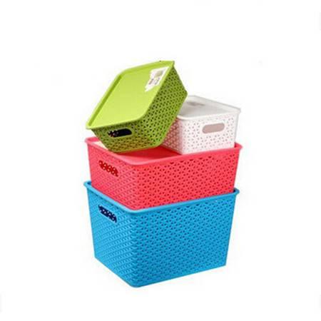 文博塑料藤编储物篮小号 桌面收纳盒 脏衣服 玩具收纳箱--绿色