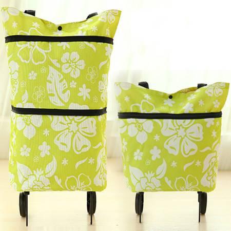 普润 可背式折叠购物车 便携购物车 家用购物车绿色花纹
