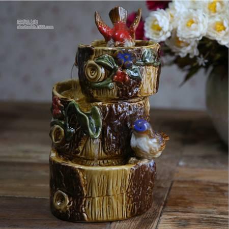 彩色陶瓷小鸟树桩流水 庭院玄关风水摆设 陶瓷工艺装饰品摆件