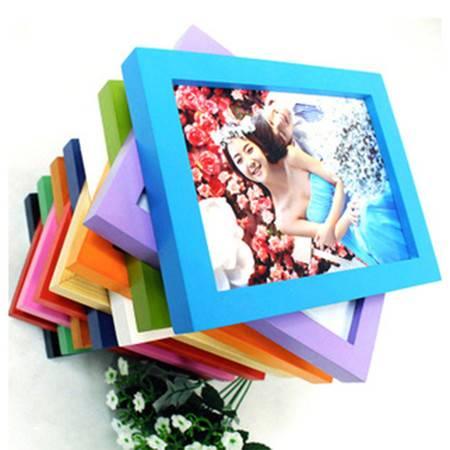 普润 木质礼品相框 平板实木相框 照片墙 8寸摆式大红色