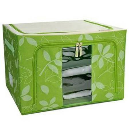 普润 22L绿色 牛津布钢架百纳箱 有盖整理箱 绿色树叶 单视 双开门
