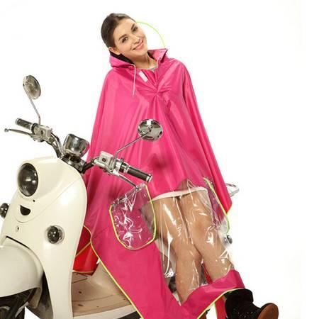 普润 雨程摩托车电瓶车电动车雨衣透明大帽檐加大加厚雨披 玫红色
