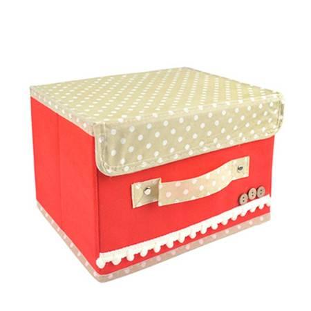 红兔子 大号扣扣收纳箱日式收纳盒无纺布储物箱 红色