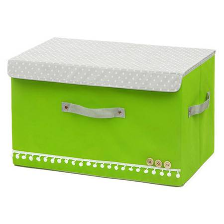优芬 大号扣扣收纳箱日式收纳盒无纺布储物箱 绿色