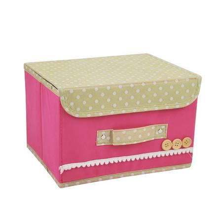 红兔子 小号扣扣收纳箱日式收纳盒无纺布储物箱 粉色