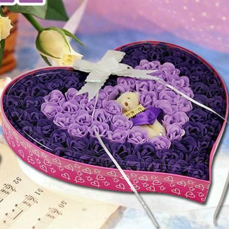 普润 浪漫礼品毛绒小熊心形玫瑰香皂花 紫色 92朵