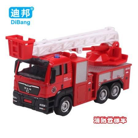 普润 儿童玩具1:55滑行合金车模工程车模型玩具车 消防云梯车