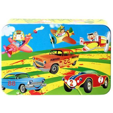 普润 60片铁盒装木质木制卡通拼图版儿童早教益智积木玩具 儿童拼图60P 飞机和汽车