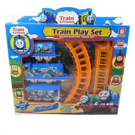 普润 托马斯小火车头玩具套装 电动轨道车 礼盒装 11件套(1车头2车厢)877-33