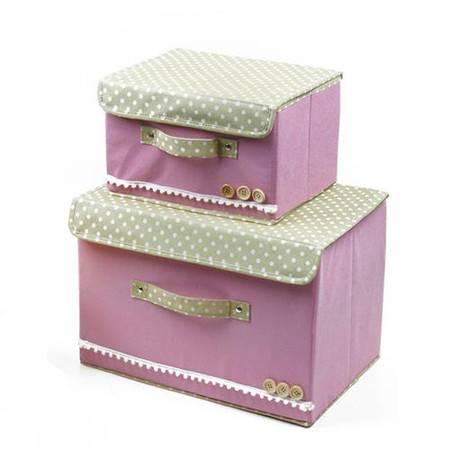 普润 彩色大小两件套扣扣收纳箱日式收纳盒无纺布储物箱 粉色
