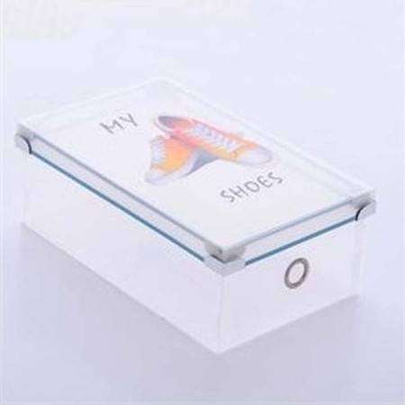 普润 塑料透明加厚鞋盒 印花女款天地盖塑料鞋盒 鞋子小物收纳盒