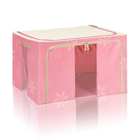普润 防水牛津布铁架收纳箱百纳箱有盖收藏箱整理箱 100L 粉色