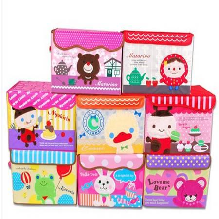普润 可擦洗衣物整理箱有盖收纳盒 刺绣卡通收纳箱 玩具收纳 随机