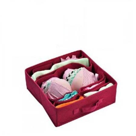 普润 竹炭二代酒红色多格文胸内衣收纳盒 整理盒