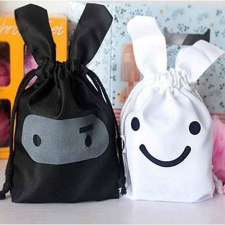 普润 忍者兔子可爱布艺收纳袋 束口收纳袋 杂物袋日用整理袋2色随机发货