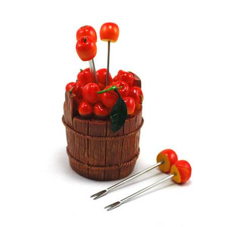 普润 木桶樱桃水果叉