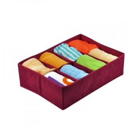 普润   竹炭二代酒红色8格内衣收纳盒 整理盒