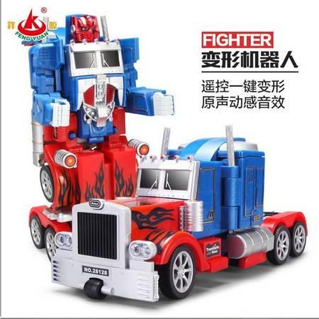 普润 遥控车一键变形金刚机器人电动汽车玩具模型 擎天柱红蓝(28128 )男女孩智能玩具车