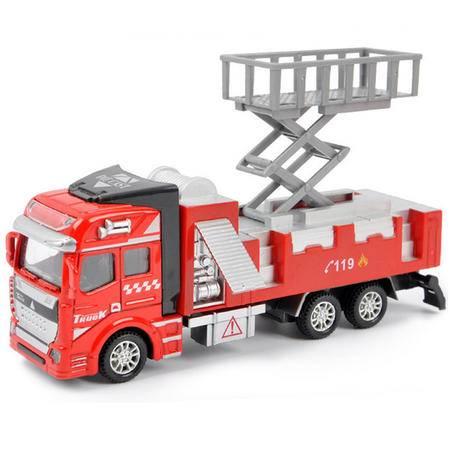 普润 儿童玩具车消防车1:48回力合金车模型益智玩具 消防升降台救援车
