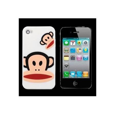 普润 大嘴猴IPHONE4 4S手机保护壳 套 硅胶套 苹果4代 白色