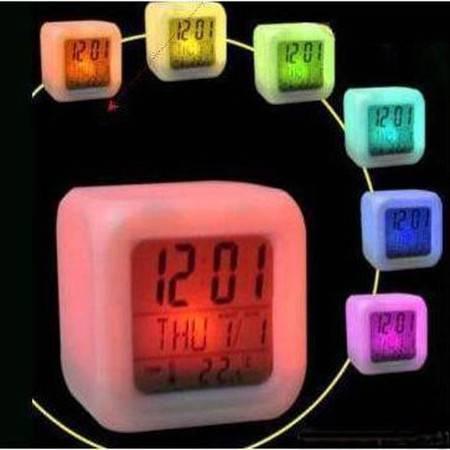 普润 减压七彩变色心情闹钟大带温度计万年历