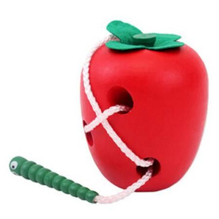 普润 儿童木制益智穿线玩具 大号虫吃苹果 亲子游戏互动 XHD0022
