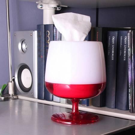 普润 时尚创意红酒杯纸巾抽/纸巾盒--红色