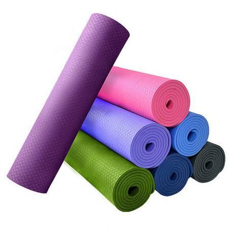 普润 3mm便携式可折叠瑜伽垫瑜珈毯运动健身无味初学者瑜伽垫子(紫色)