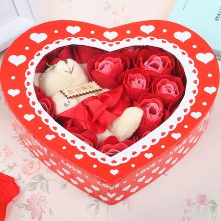 普润 浪漫礼品毛绒小熊心形玫瑰香皂花(20朵)--红色