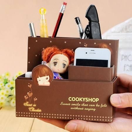 普润 韩国可爱卡通小妞子纸质笔筒DIY桌面收纳盒 咖啡色