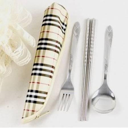 普润 拉链式格子布袋便捷式餐具三件套