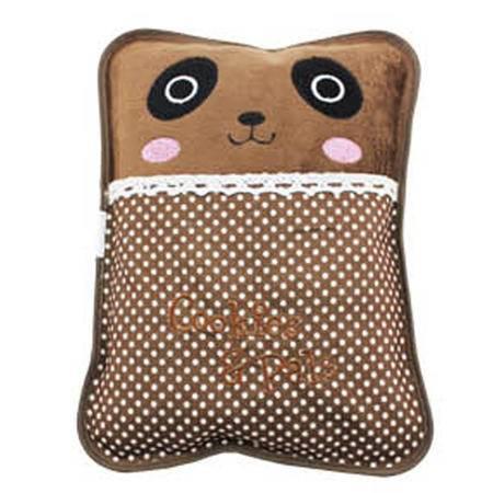 普润 水电分离热水袋暖水袋电热宝暖腰暖手宝暖宝 单插手毛绒电热水袋 咖啡色