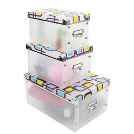 普润 多功能金属边环保PP有盖收纳盒/整理盒三件套 蓝黄蝴蝶