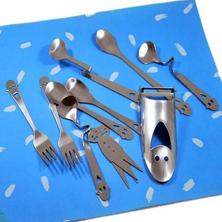 普润 开心笑脸全家福 不锈钢餐具11件套 创意餐具套装 餐具礼品