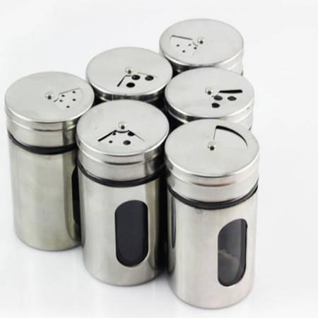 普润 不锈钢调味瓶 旋转玻璃内胆调料罐 多功能烧烤味精调料盒