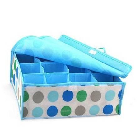 普润 12格圆圈软盖无纺布收纳盒内衣袜子收纳盒杂物整理盒
