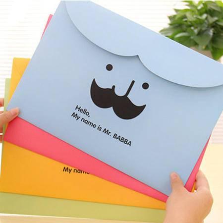 普润 胡子文件袋纸质文件收纳袋 横版魔术贴卡通文件夹2个(绿色)