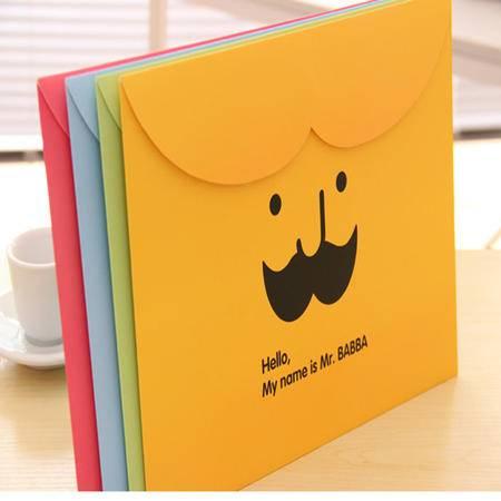 普润 胡子文件袋纸质文件收纳袋 横版魔术贴卡通文件夹2个(粉色)