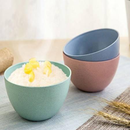 普润 4只装小麦秸秆米饭碗儿童吃饭碗 创意家用餐具学生甜品汤碗 绿色