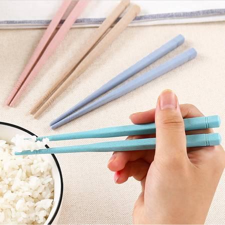 普润 10双装小麦秸秆儿童筷子 无漆无蜡防滑尖头筷子 学生便携餐具 绿色